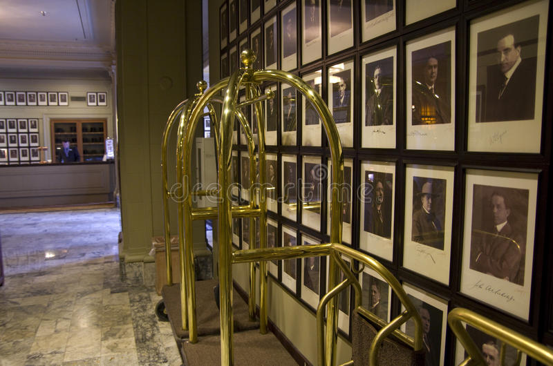Luxury historic hotel lobby. The Arctic Club Seattle hotel is a famous historic hotel in downtown Seattle. It has pictures of the gold rush surviver of early stock photos