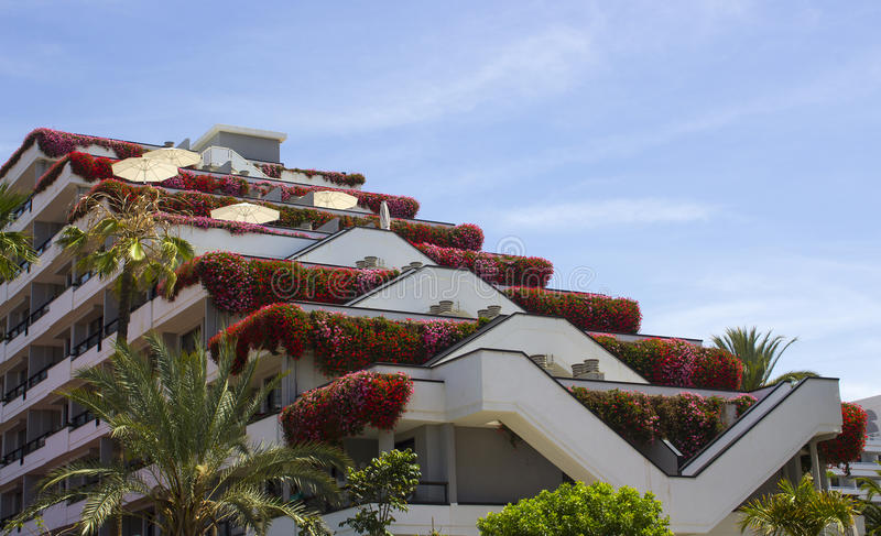 Luxury holiday hotel accommodation with a recreation area planted with beautiful sub tropical flowers and shrubs in Teneriffe. The rising terraces provide a stock image