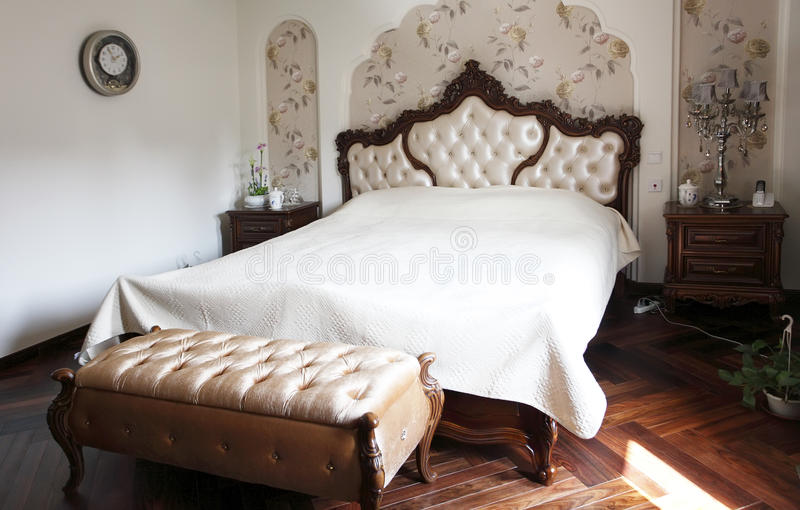 Luxury home bedroom. Interior. with modern furniture royalty free stock photo