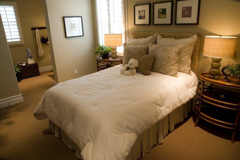 Luxury home bedroom. With teddy stock photos