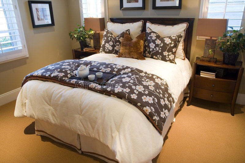 Luxury home bedroom. With stylish furniture and decor stock image