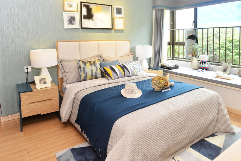 Luxury home bedroom stock images