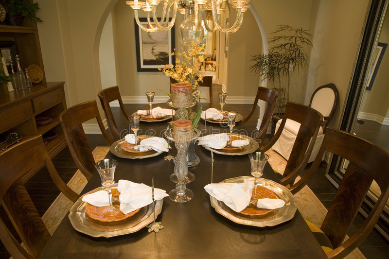 Luxury home dining room. royalty free stock photography