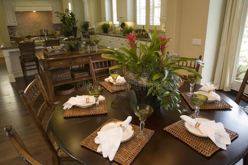 Luxury home dining room. stock photography