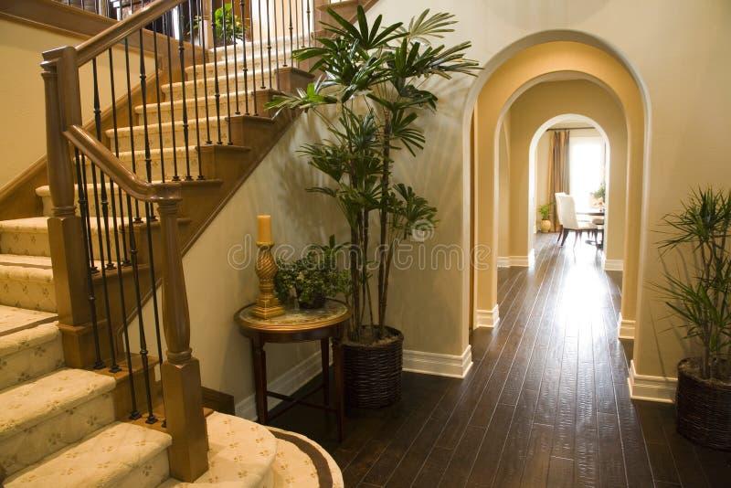 Luxury home hallway. stock images