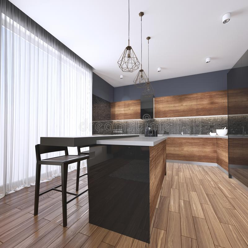Luxury home interior beautiful kitchen with custom black and wood shaker cabinets, endless marble topped island with brown leather stock illustration