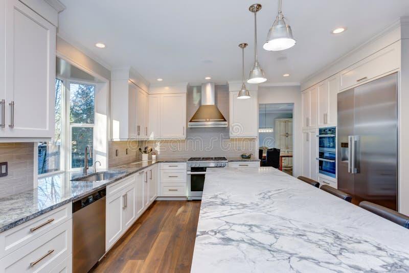 Beautiful White Kitchen Design. Stock Image - Image of large ...