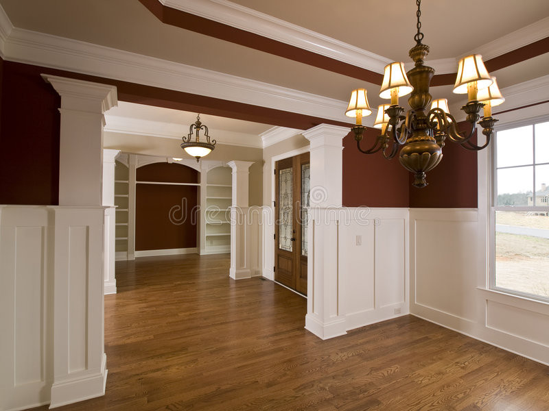 Luxury Home Interior Foyer with Lights stock photo