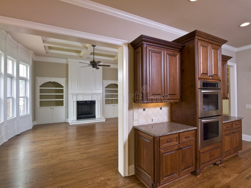 Luxury Home Interior Kitchen Cabinets stock photo