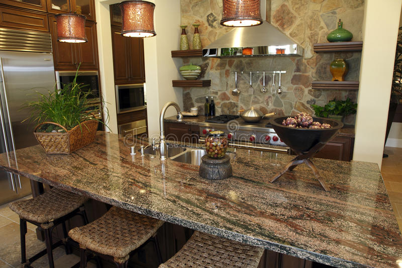 Luxury home kitchen stock photography