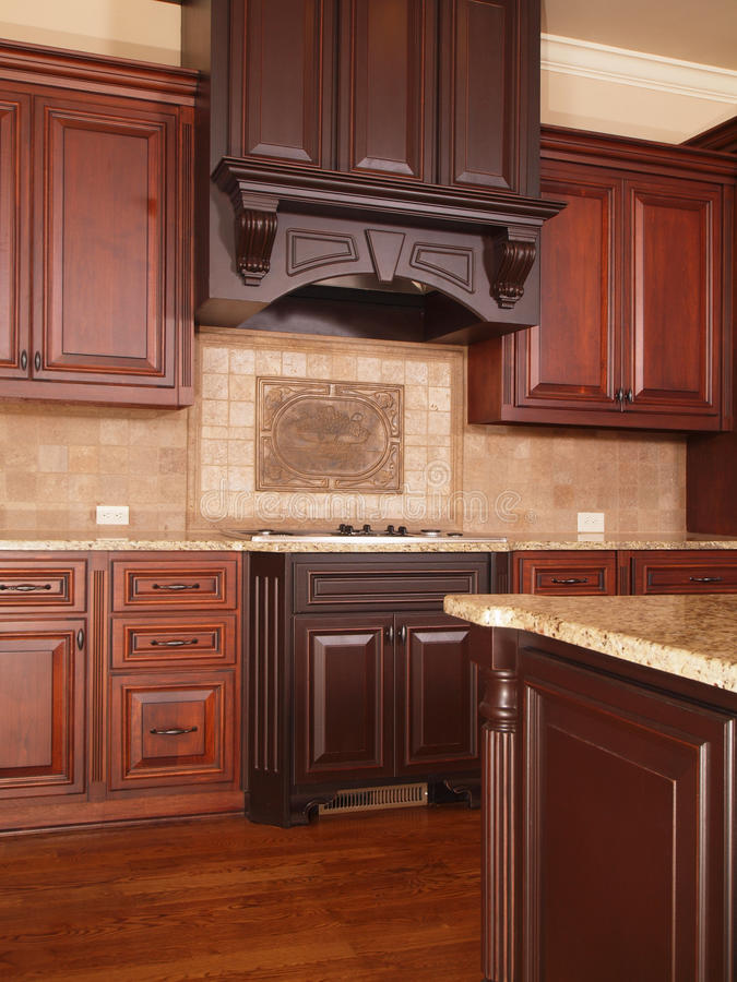 Luxury Home Kitchen two tone cabinets stock images