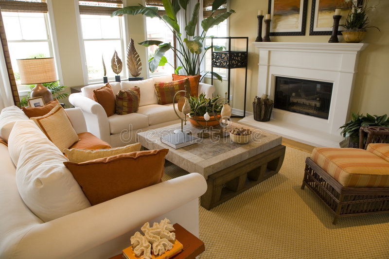 Luxury home living room. stock photography