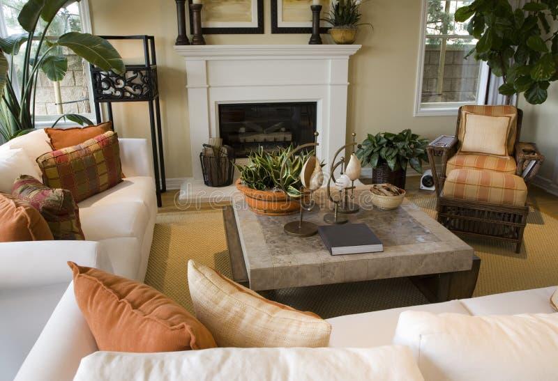 Luxury home living room. stock photo