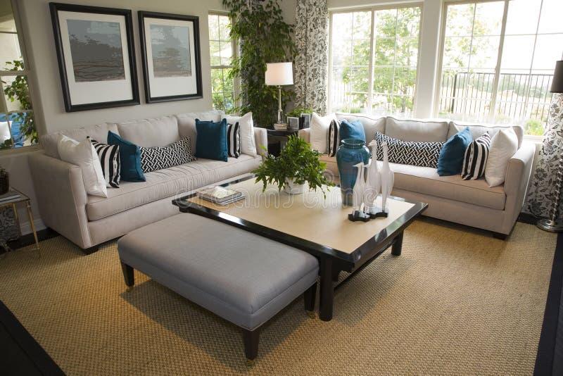 Luxury home living room stock photo