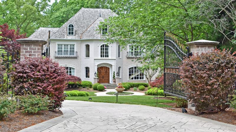 Luxury Home With Open Gate royalty free stock photos