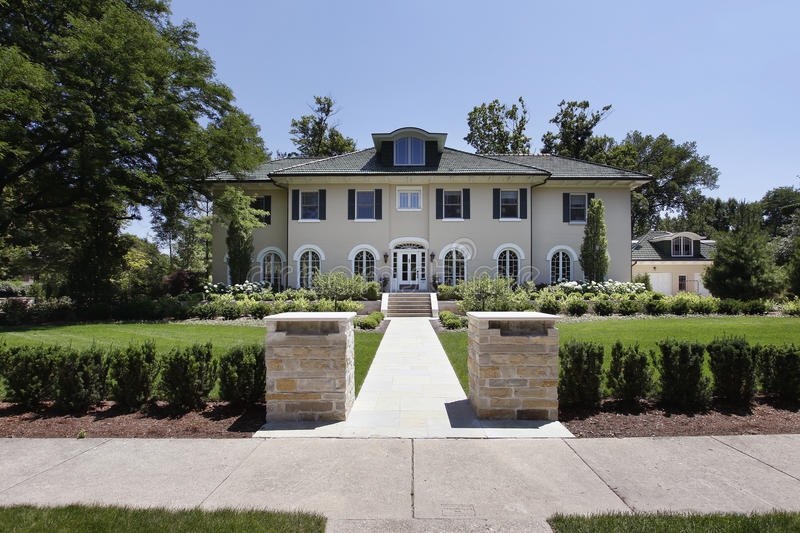Download Luxury Home With Stone Pillars Stock Image - Image: 17279707