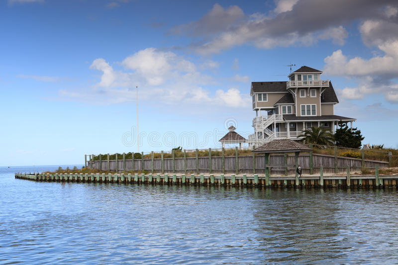 Luxury Home Surrounded by Water stock image