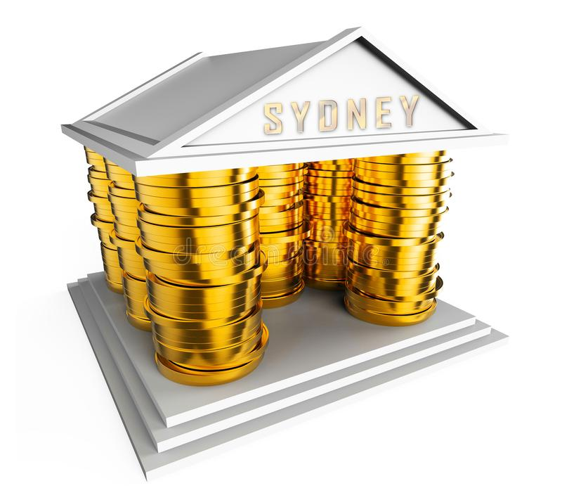 Luxury Home Sydney Coins Icon Showing High Class Accomodation In Australia - 3d Illustration. Luxury Home Sydney Coins Icon Showing High Class Accomodation In stock illustration
