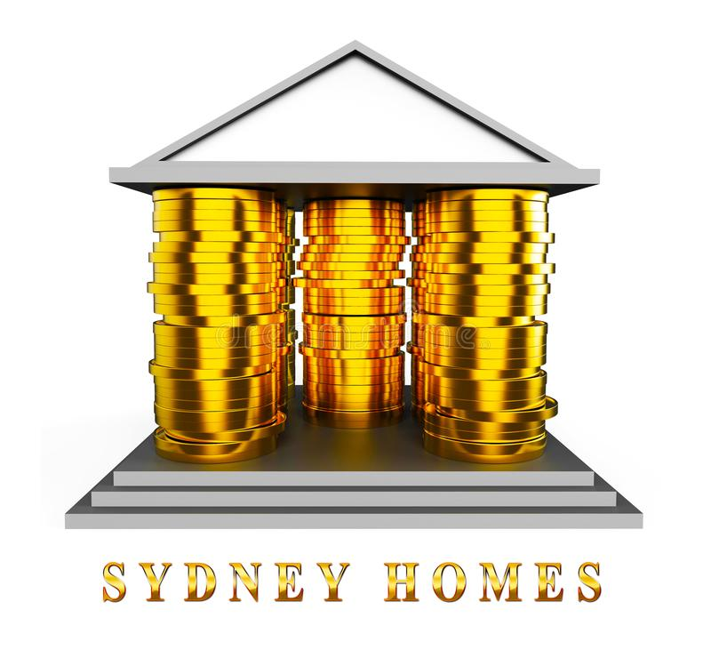 Luxury Home Sydney Coins Icon Showing High Class Accomodation In Australia - 3d Illustration. Luxury Home Sydney Coins Icon Showing High Class Accomodation In vector illustration