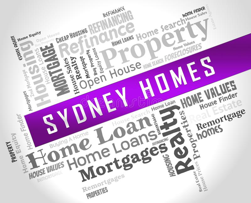 Luxury Home Sydney Wordcloud Showing High Class Accomodation In Australia - 3d Illustration. Luxury Home Sydney Wordcloud Showing High Class Accomodation In royalty free illustration