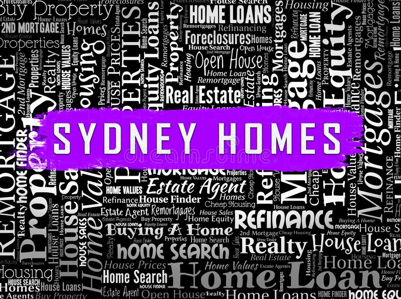 Luxury Home Sydney Wordcloud Showing High Class Accomodation In Australia - 3d Illustration. Luxury Home Sydney Wordcloud Showing High Class Accomodation In vector illustration