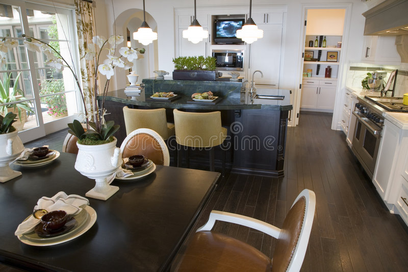 Luxury home table and kitchen. stock image