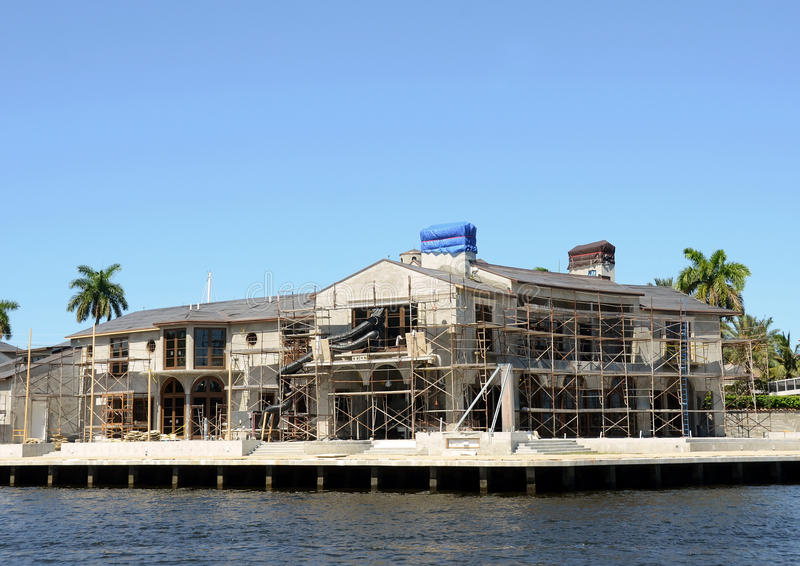 Luxury home under construction royalty free stock photo