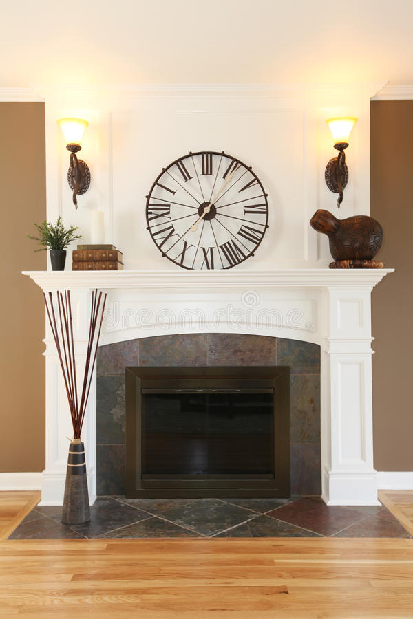 Luxury Home White Fireplace With Stone And Clock Stock