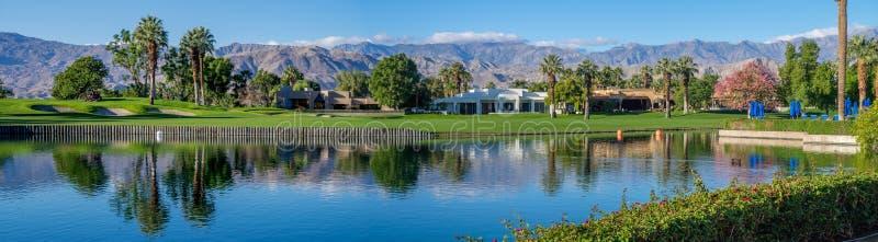 Luxury homes along a golf course in Palm Desert stock photos