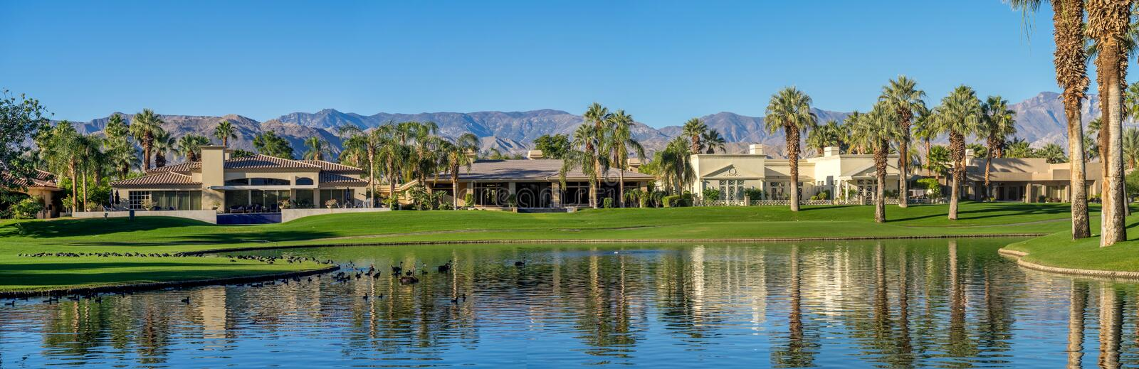Luxury homes along a golf course in Palm Desert stock photo