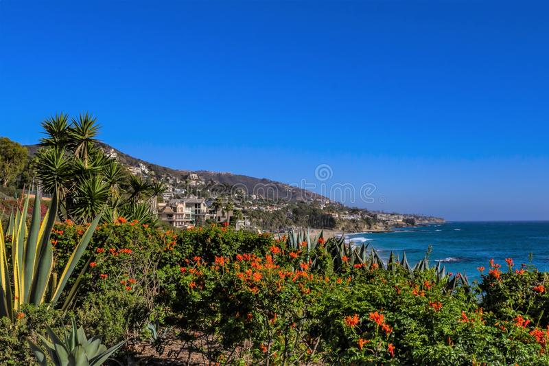 Luxury homes on Southern California shoreline stock images
