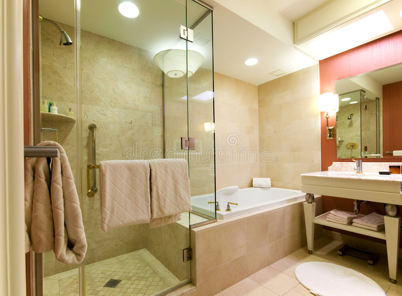 Luxury hotel bathroom. Modern, spacious luxury hotel bathroom stock photo