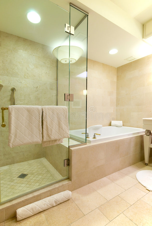 Luxury hotel bathroom. Modern, spacious luxury hotel bathroom stock images