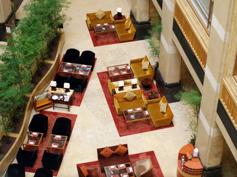 Luxury hotel buffet restaurant. An aerial view of the layout and interior decor of a five star luxurious hotel buffet restaurant dining area. Located in large royalty free stock images