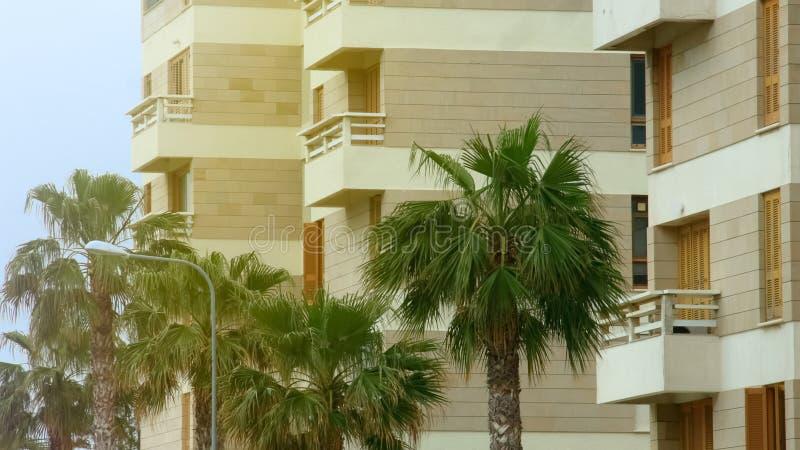 Luxury hotel building, dwelling house balcony, rent apartment, low season resort royalty free stock photos