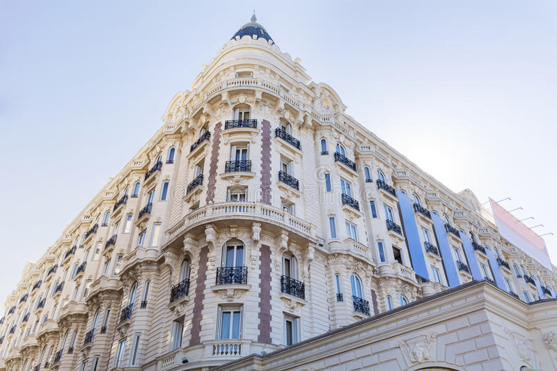 Luxury hotel building exterior.French architecture. Luxury hotel building exterior in Cannes,France stock photos