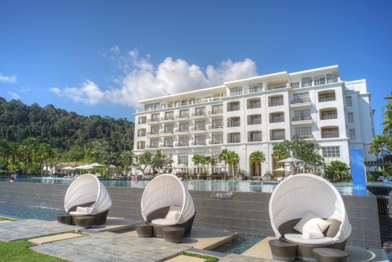 Luxury hotel with infinity pool royalty free stock photo