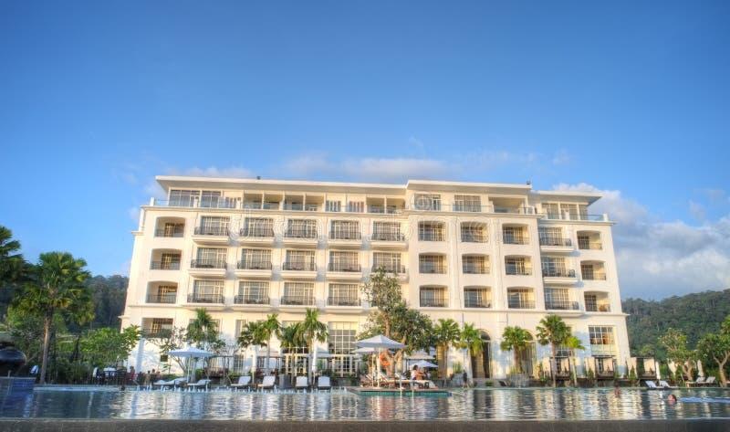 Luxury hotel with infinity pool stock photos