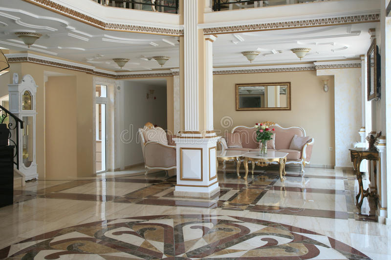 Luxury hotel interior. Baroque style royalty free stock images