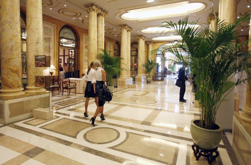 Luxury hotel lobby. People walking in luxury hotel lobby, Athenee Palace Hilton Bucharest, Romania