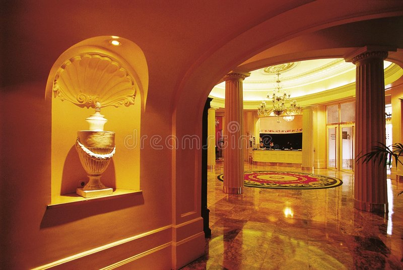 Luxury hotel reception hall stock photo