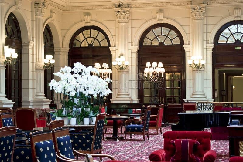 Luxury hotel restaurant interior stock image