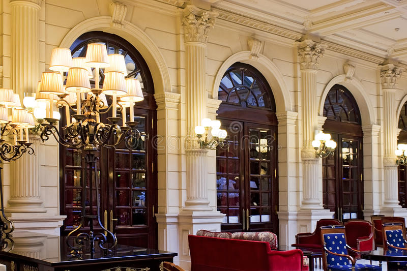 Luxury hotel restaurant interior, day time royalty free stock photography