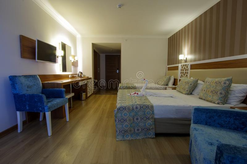 Luxury hotel room wide angle view stock photography