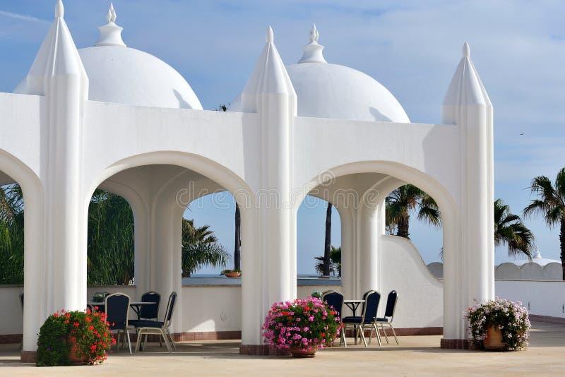 Luxury hotel's garden in morocco stock photo