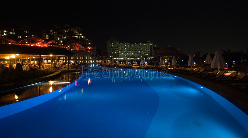 Luxury hotel swimming pool royalty free stock photos