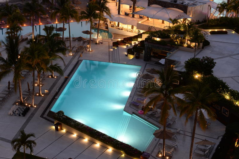Luxury hotel swimming pools. Aerial view of swimming pools at luxury resort stock photos