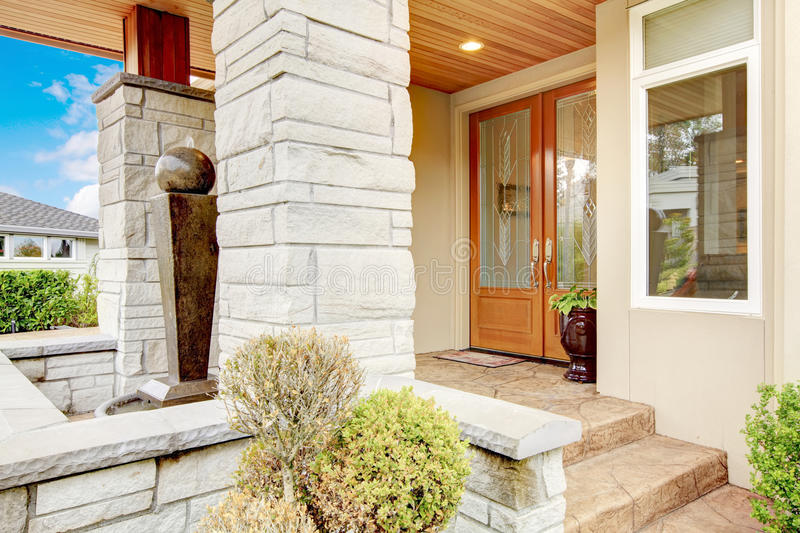 Luxury House Entrance Porch With Stone Column Trim And Stained W Stock Photo Image Of Design