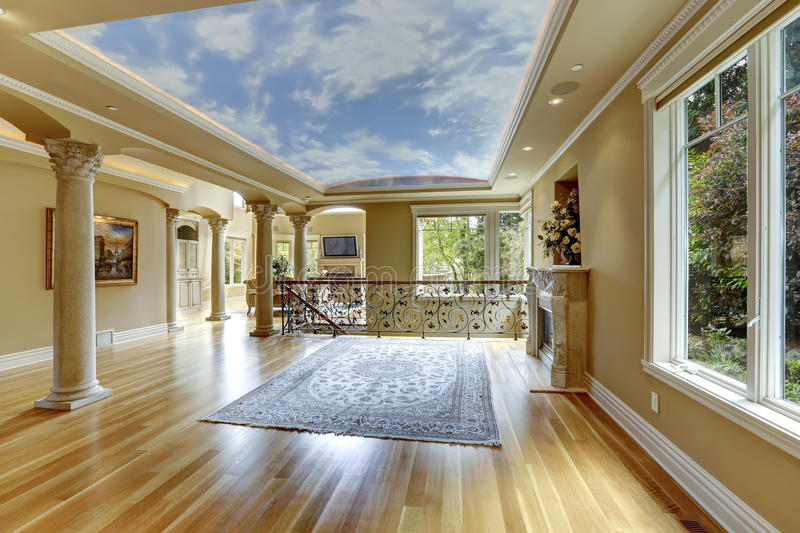 Luxury house interior. Empty living room royalty free stock images