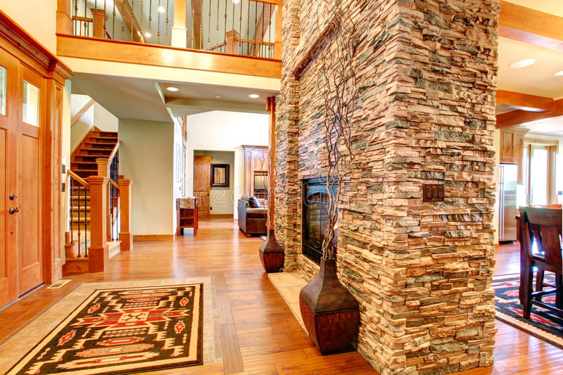 Luxury House Interior Stone Wall With Fireplace Stock